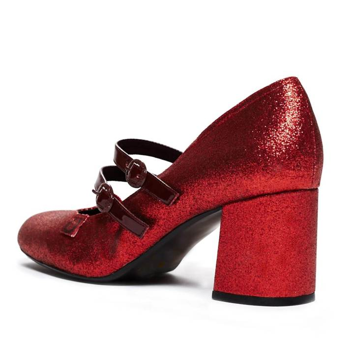 Miss L Fire red glitter wedding shoes