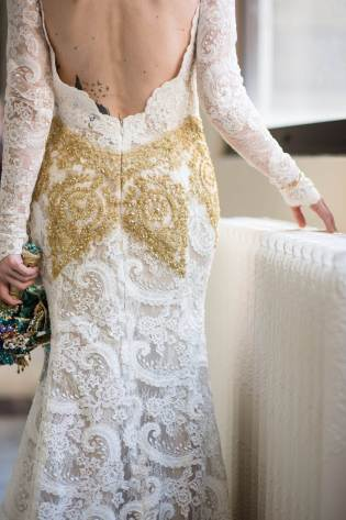 An American wedding with a brooch bouquet and a couture dress