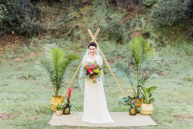 1940's Tropical Wedding with Bright, Bold Styling and Vintage Dresses
