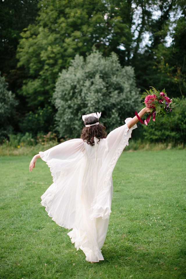 1970's Wedding Inspiration with Feather Headdresses and Boho Sleeves