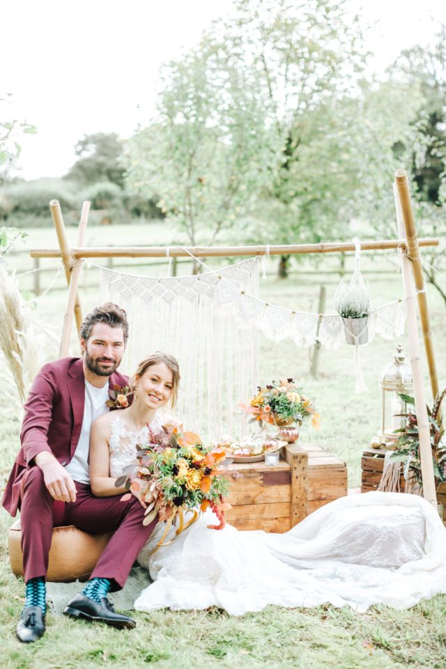 Outdoor Autumn Wedding with Luxe Styling at The Orchards at Chesfield
