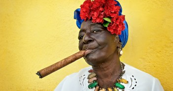 Havana, Cuban woman smoking cigar