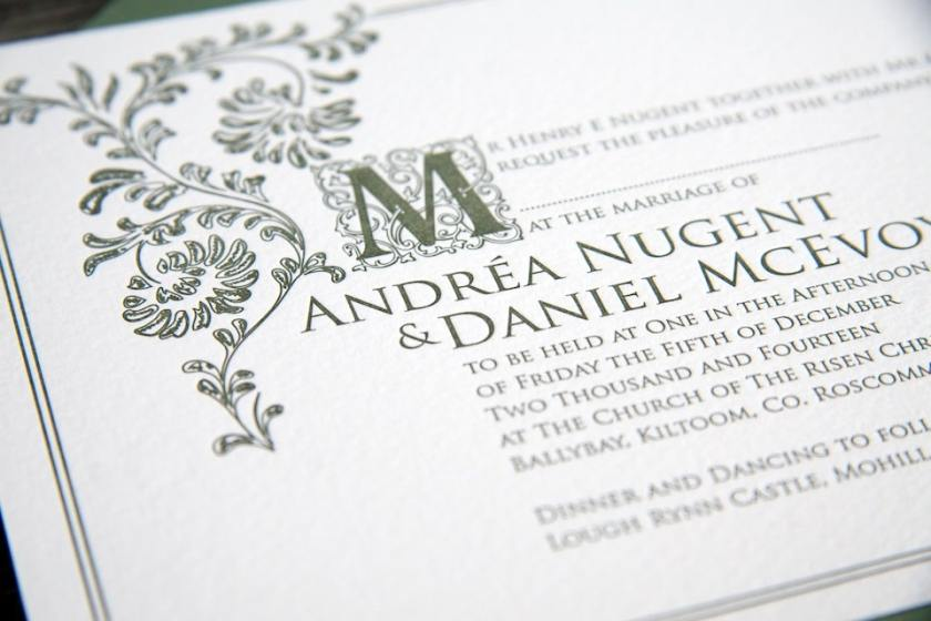 Old English Invitation Letterpress Detail