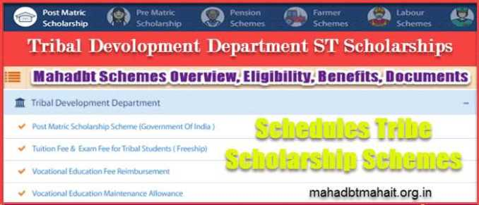Mahadbt Scheme Tribal Scholarship ST Students Deparment List