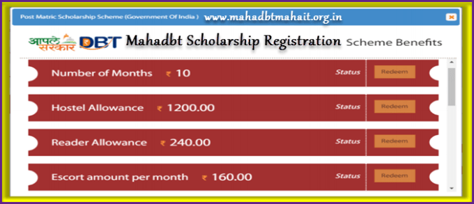 Mahadbt scholarship registration details