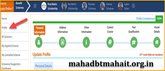 Mahadbt profile submission details step by step
