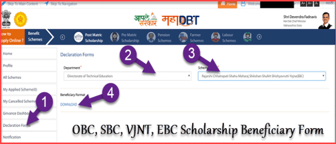 Mahadbt declaration form for scholarship maharashtra
