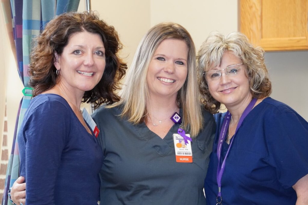 Nurses Jessi Nunnikhoven, Sally Blake and Sandy Long