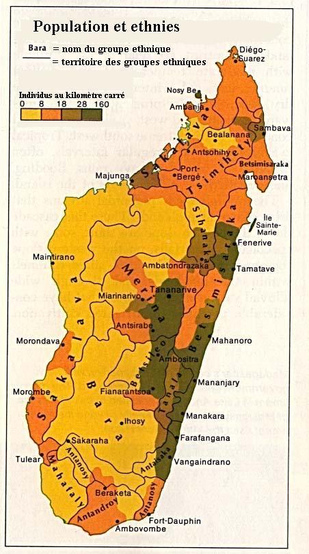 Carte de répartition des ethnies de Madagascar
