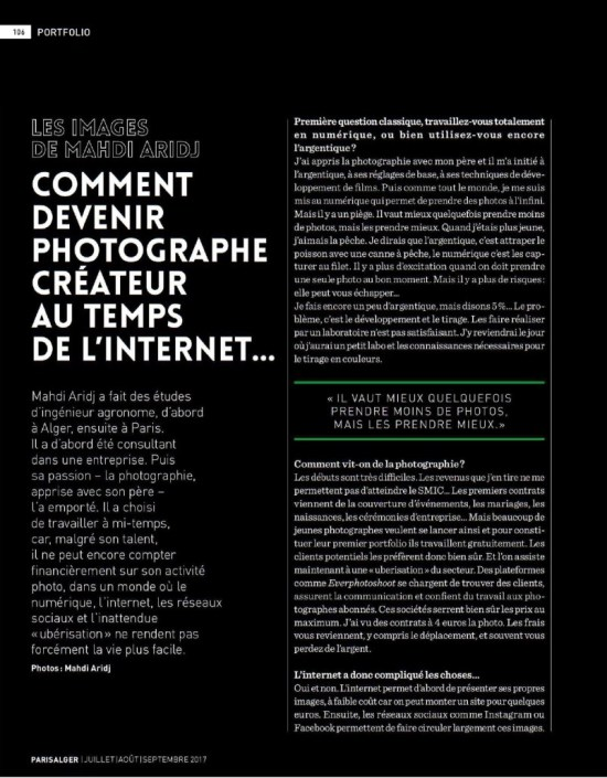 Comment devenir photographe au temps de l'internet ? - How to become a creative photographer in the internet Era ?- Paris Alger Magazine