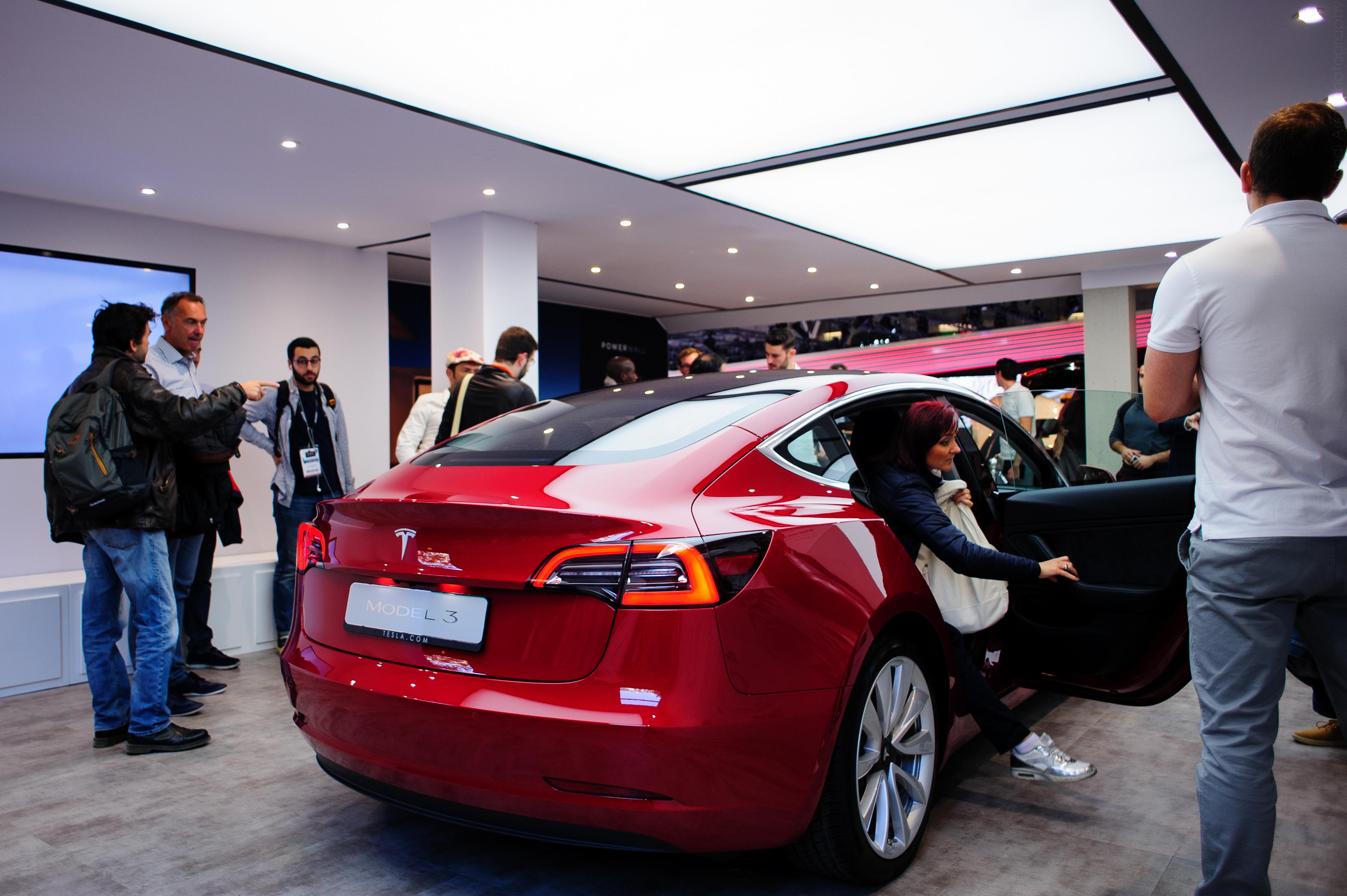 Tesla model 3 at the Paris Motor Show - Mondial Auto 2018