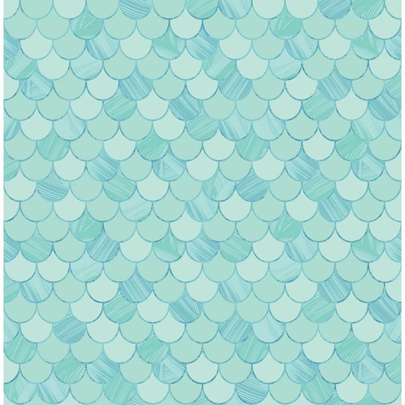 Gold And Teal Wallpaper Quote Ta20902 Tortuga Blue Fish Scales Seabrook Wallpaper