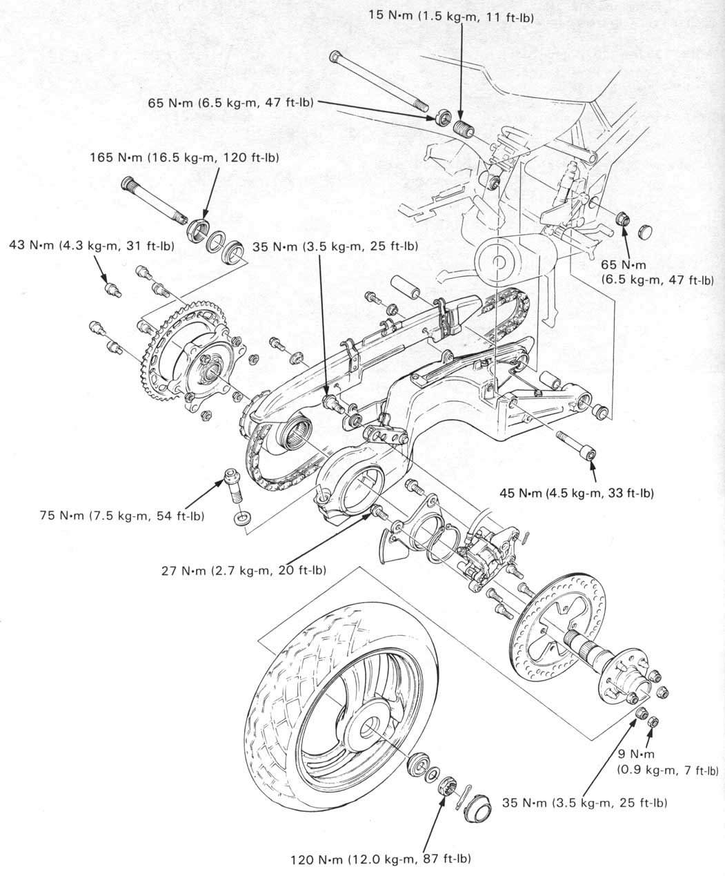 Honda NT650 service manual, section 13, Rear Wheel/Suspension