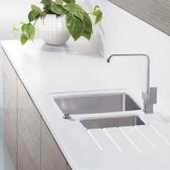 Steel Kitchen Island Grey Table Taps - Maia