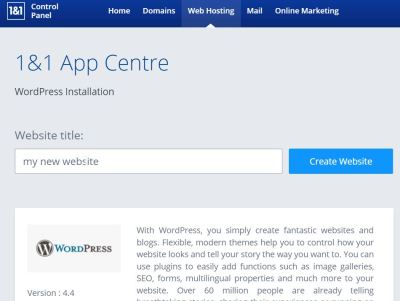 how to install wordpress on 1and1