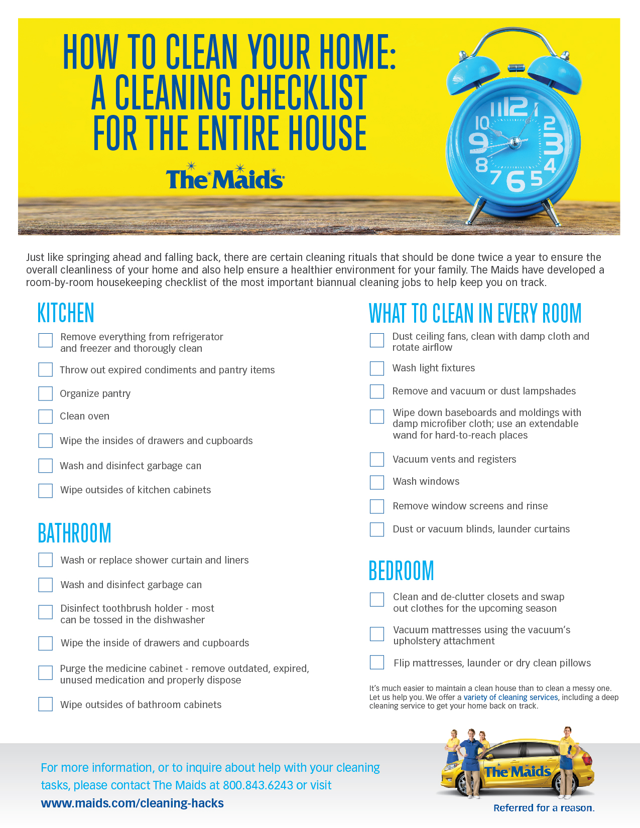 How to Clean Your Entire House A RoomByRoom Cleaning Checklist from The Maids