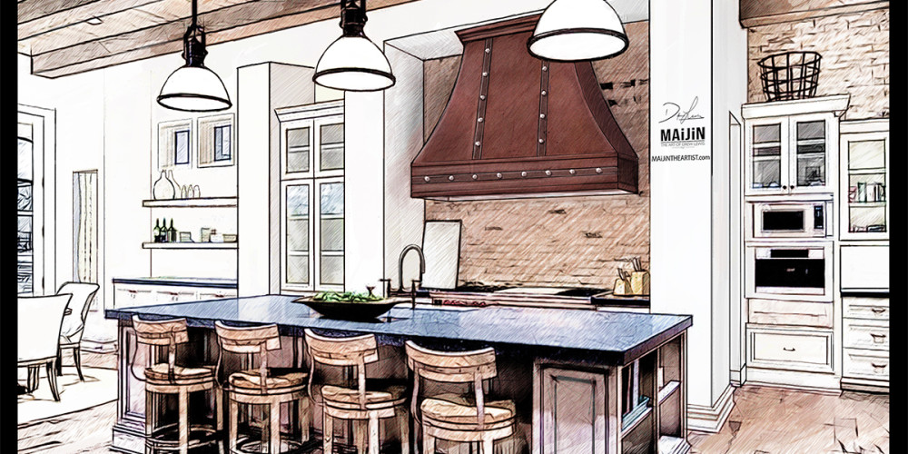Interior Kitchen Concept Design Drawing 1 Professional Rendering