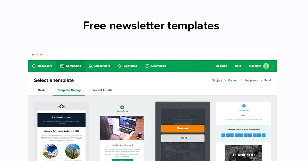 Update your fans and attract new readers with a stylish newsletter template. Email Newsletter Templates Mailerlite