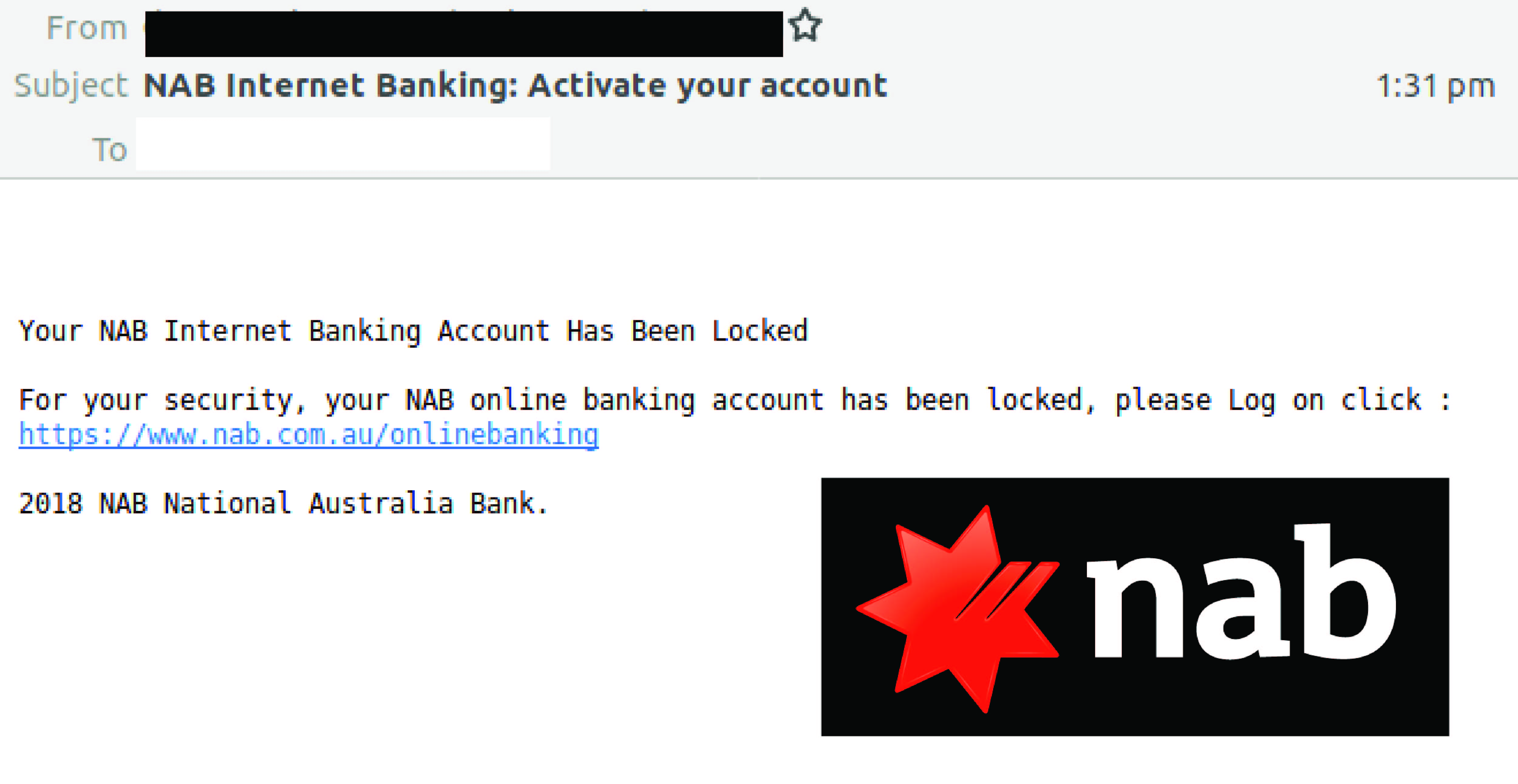 Phishing Attack Delivered By Email Spoofing Nab