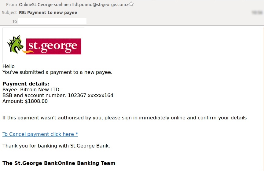 Fake St George Bank Email Is A Phishing Attack