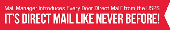 Banner for USPS Every Door Direct Mail program by Mail Manager