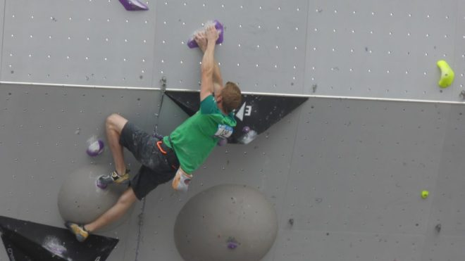 One of the IFSC Climbing World Cup climbers in Villars