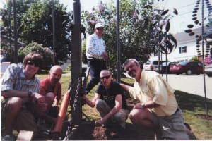 Ryan with Lyman Whitaker and John Spain during sculpture installation.