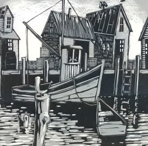 Menemsha Gulls by David Witbeck (wood cut)