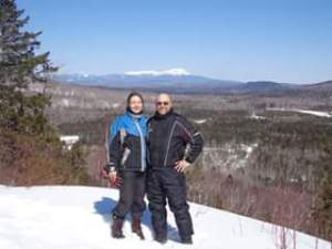 Snowmobiling in Maine at Mount Katahdin and South Twin Lake.