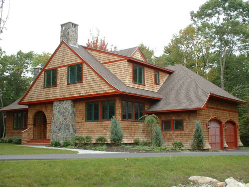 Shingle style house plans by Maine Coast Cottage Co offering blueprints reminiscent of the New