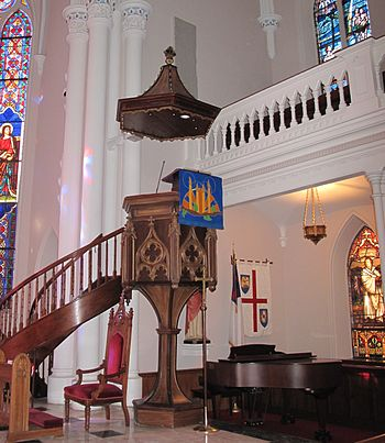 English: The gothic-revival wine glass pulpit ...