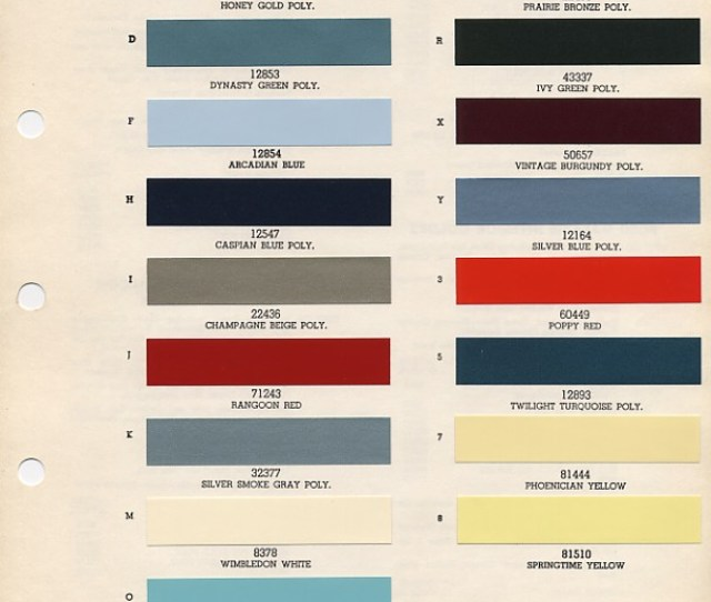 1965 Mustang Paint Colors Codes
