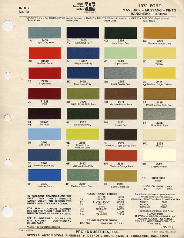 Paint Colors Mustang 1965
