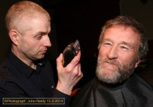The Fund-Razors: Pat Scannell about to do his job on George Glover at the Downs Syndrome Kerry charity event at The Kingdon House Bar. ©Photograph: John Reidy 15-3-2014