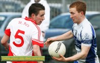 Now you see it...: Desmonds corner forward, Thomas Hickey turning his St. Pat's marker, Luke Mulligan during their Credit Union County Senior Football League Division 2 Round 1 game in Castleisland on Sunday. ©Photograph: John Reidy 23-3-2014