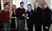 Overall Contribution Award winner, Michelle O'Connor of the JAMCAS team being presented with her trophy by Kerry footballer, Killian Young, bank of Ireland with: Tim Long and Lea Parker-Bond, teachers, St. Patrick's Secondary School; Paddy Garvey, manager, Bank of Ireland and Eileen Kennelly, principal, St. Joseph's Presentation Secondary School. Photograph: John Reidy
