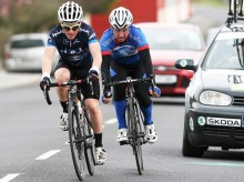 2013 winner Planet-Tri team member, Páidí O'Brien (left) ahead of Keith Gater of the Aqua Blue team on the final lap through Castleisland in the 48th annual John Drumm Memorial Cup on Sunday afternoon. Photograph: John Reidy