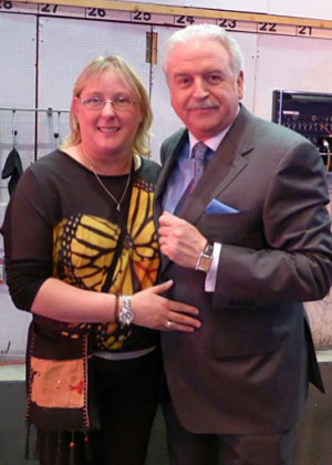 Catheriona O'Connor with Marty Whelan on the set of Winning Streak on Saturday.