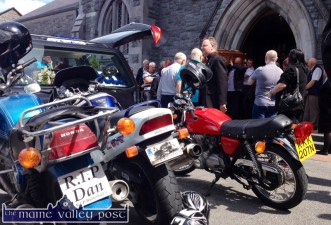 Plate for the day. A custom number-plate on his first bike at the funeral of the late Dan Riordan at the Church of Saints Stephen and John in Castleisland on Monday. ©Photograph: John Reidy 30-6-2014