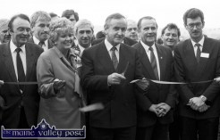 Minister for Industry and Commerce Albert Reynolds, TD cut the ribbon on the occasion of the official opening of the New York Life/Nylerin offices on the Tralee Road Industrial Estate in November 1988. Included are from left: Cllr. PJ Cronin, Senator Tom McEllistrim, Jimmy Deenihan, TD; Frances Pare, Nylerin director; Kieran McGowan, IDA; Denis Foley, TD, Dermot O'Callaghan, chairman, Killarney UDC and Dick Spring, TD. ©Photograph: John Reidy 15-11-1988