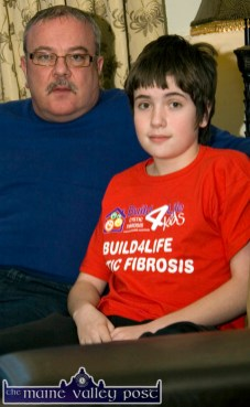 CF campaigner, Joe Browne pictured with his son, Pádraig at home in Castleisland. ©Photograph: John Reidy 5-2-2013