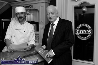 Chef, Tadhg Corkery, Killarney pictured with manager, Willie Buckley in the new Con's Bar and Grill before the launch on Thursday evening. ©Photograph: John Reidy