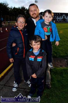 Killarney runner, Margaret Murphy's reception group. With Liam are sons: Stevie, Donncha and Adam waiting near the finish line after the An Riocht AC Couch-to-5K Road Race/Fun Run in Castleisland on Friday evening. ©Photograph: John Reidy