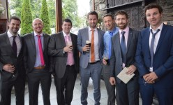 Guests at Frank and Katie's wedding on Friday included, from left: Liam O'Connor, Darragh McCarthy, Ivan Stuart, Peter Burke, Daniel and Pádraig Shanahan and Derek O'Sullivan.