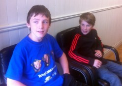Tadhg and Eamon pictured before they sat in the barber's chair on Saturday.