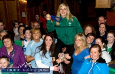 Irish Women's Rugby team member, Siobhán Fleming is raised by Tralee RFC team-mates, neighbours and friends on her arrival at the River Island Hotel in Castleisland for a reception in her honour after her Grand Slam exploits in March 2013. ©Photograph: John Reidy 18-3-2013