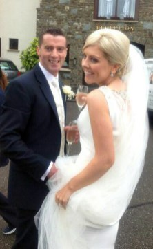 The happy couple arriving for their wedding reception at the Killarney Heights Hotel on Friday.