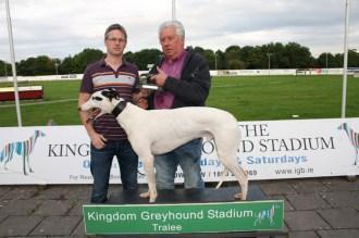 Jeremy Burke Sponsor of the Tomo Burke Electrical 550 presenting the winners trophy to Dan Kiely, Killarney.
