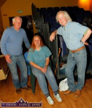 Charlie Nelligan, Castleisland (left) pictured with Ursula and Frank O'Keeffe, Kenmare after the first in the Handed Down series of talks and concerts at Scartaglin Heritage Centre on Saturday night. ©Photograph: John Reidy