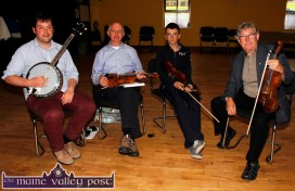 Music teacher, Nicky McAuliffe taking his final Master Class of the day at the Scartaglin Heritage Centre on Saturday evening. Included are from left: Dan O'Sullivan and James Allman, Tralee and Conor Daly, Rockchapel. ©Photograph: John Reidy